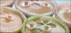 Shabby Chic Cupcakes (windy_sydney) Tags: pink food orange white green yellow cake dessert cupcakes baking chocolate peach sugar bakery junkfood baked fondant