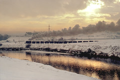 Trip to Fryston pit (Garter Blue) Tags: sunset snow reflection train river yorkshire rail railway steam calder coal om colliery hunslet uksteam fryston diamondclassphotographer flickrdiamond wheldale rnbwestyorkshirecalder catleford om2with50mmf18lens