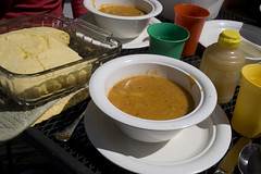 Gluten-Free Corn Bread with Red Lentil Soup
