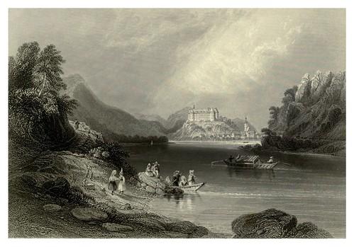 013-Grein a orillas del Danubio-al fondo el castillo Greinburg 1844