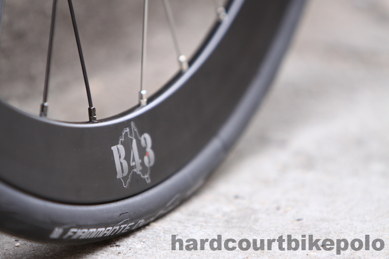 Velocity B43 bike wheel close up