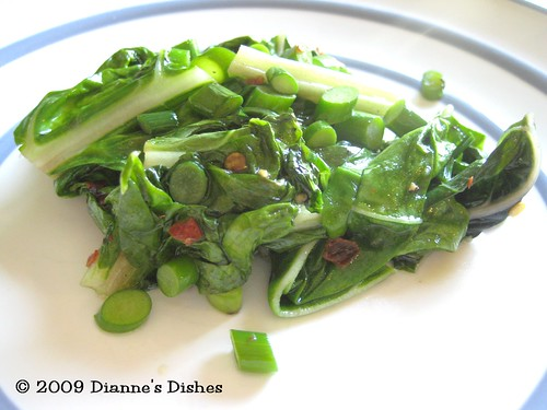 Spicy Chard with Garlic Scapes