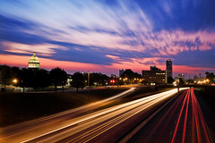 Another Early One (clay.wells (CLOSING IN ON 100 VIEWS!!!!!!11!!!!!11) Tags: street city morning pink blue urban bw 6 motion blur building lines car june rock skyline bulb night clouds truck canon eos dawn early spring interesting twilight long exposure cityscape traffic state little metro clayton go battery overpass wells front we explore vehicles again capitol stop filter hour transportation page nd there arkansas interstate usm yet streaks six 630 2009 metropolitan ef 1740 density neutral ultrasonic ridiculously bigmomma f4l i 40d challengeyouwinner i630 thechallengefactory img7899c