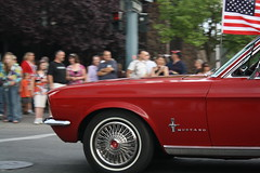 Mustang Mama (digitalhope) Tags: crowd parade hotrod mustang applered cardlene