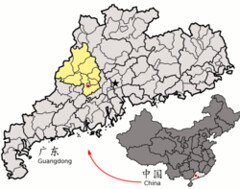 Location of Zhaoqing