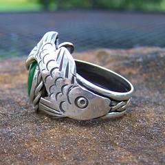 Jade Ring of the sage in natural light (leespicedragon) Tags: original sculpture fish green art fashion silver handmade oneofakind ooak magic jewelry sage ring jade metalwork spiritual magical marvinleebillings mavinleebillings