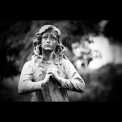 Sorrow (Flavio Ewerton) Tags: blackandwhite bw sculpture white black art girl statue canon sadness pain hands sad bokeh expression young feeling marble sorrow grief sentiment lament douleur sorrowful supplication