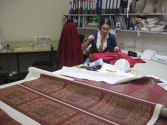 Work in a progress on a replica of a tunic. Photograph by Simon Carter.