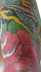 tatoo on elbow of red peony