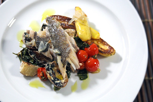 Plated Trout with Market Vegetables