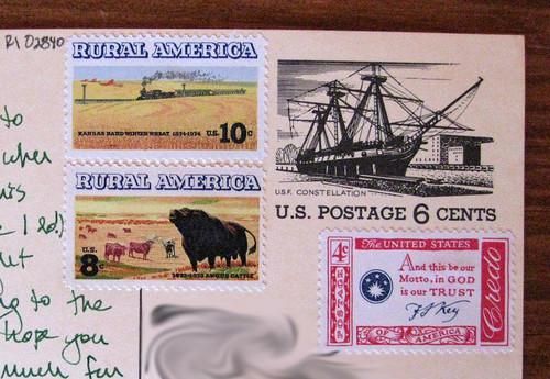 Vintage postcard + vintage stamps