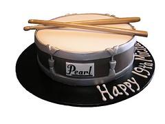 Drum Cake (Cre8acake) Tags: birthday brown cake silver drum pearl drumsticks