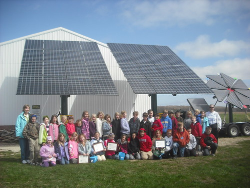 Third Graders from Gibraltar Area Schools in front of the new farm solar panels