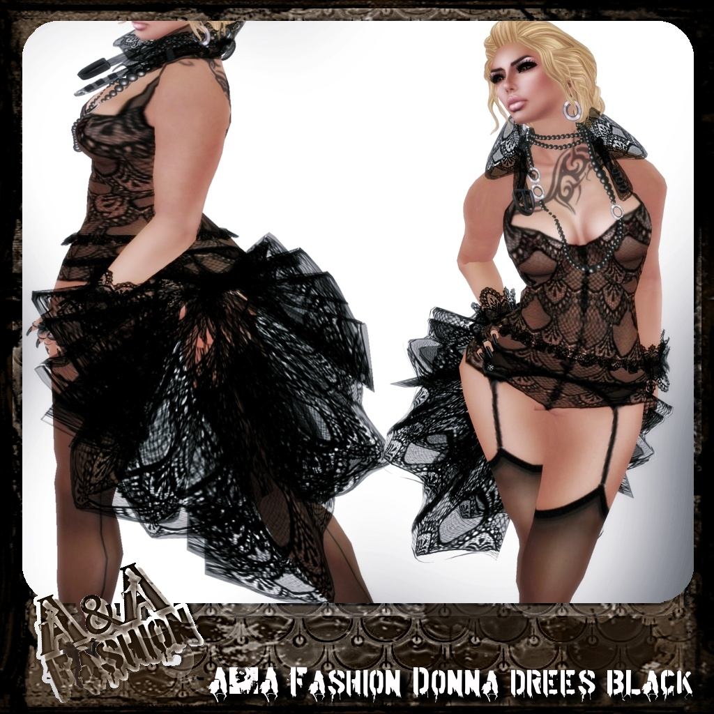 A&A Fashion Donna Dress Black