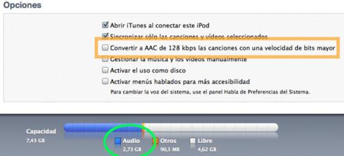 Como aumentar el espacio libre de tu iPod