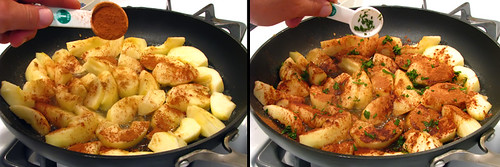 Sprinkling Cinnamon & Mint Over Apples