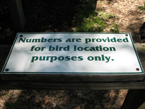 Numbers are provided for bird location purposes only
