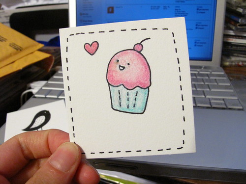Pink Cuppy drawing to place in my Etsy orders.