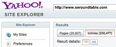 Yahoo Site Explorer Links Back