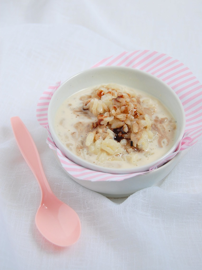 Vanilla rice pudding with Port syrup / Arroz doce com baunilha e caldinha de Porto
