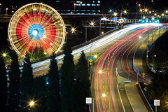 Rollin Rollin Rollin (Ben Canales) Tags: bridge carnival wheel night portland lights highway long exposure traffic ferris morrison cincodemayo