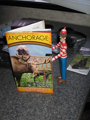 Charlie reading the Anchorage guide book.