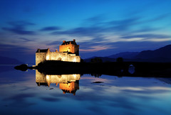 Eilean Donan - blue hour (explored! Thank you!) (Ren A) Tags: lighting longexposure bridge blue light sunset sea mer lake castle clouds reflections scotland movement marin ngc explore maritime after bluehour loch chateau crpuscule eilean donan moutains aurore pnombre historique lochalsh ocan mdival explored presqule