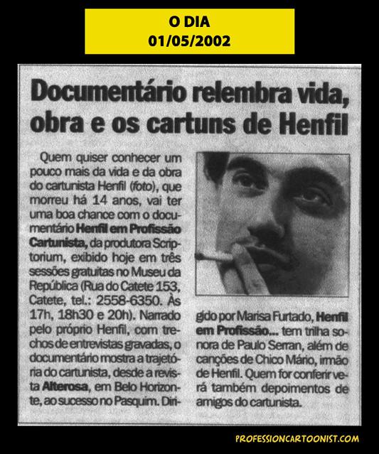 """""""Documentário relembra vida, obra e os cartuns de Henfil"""" - O Dia - 01/05/2002"""