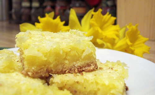 Sour Cream Coconut Lemon Shortbread Bars (recipe)