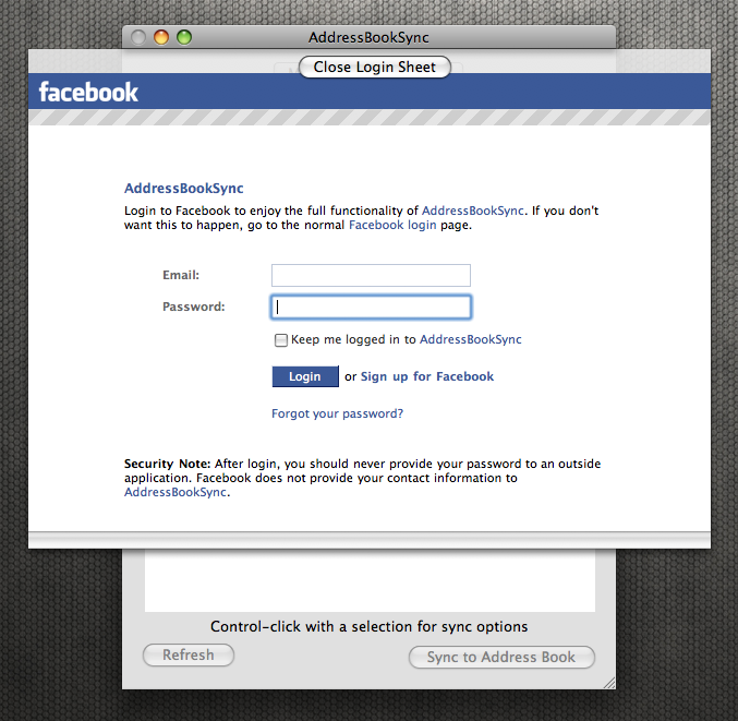 AddressBookSync Facebook Login
