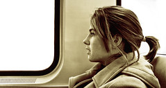 Jessica on the Train (Adam Peditto) Tags: brown white black adam philadelphia girl sepia train hair pretty coat tail young teen pony ponytail philly pea patco speedline peditto