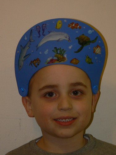 Ocean theme for the Purim mask-hat parade
