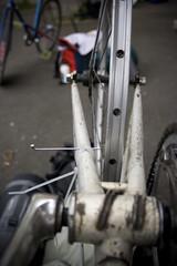 Makeshift Truing Stand (robbzizz) Tags: france spoke tournament rouen bikepolo hardcourt truingstand happywheels ruinedinrouen