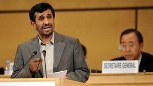 President Ahmadinejad of the Islamic Republic of Iran speaking at the World Conference Against Racism Durban Review II in Geneva. The racist states walked out during his address. The majority stayed and cheered his remarks. by Pan-African News Wire File Photos