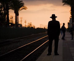 Waiting for the Chief (K-Szok-Photography) Tags: california people canon outdoors bokeh amtrak canondslr fullerton trainspotting canon70200f4l fullertoncalifornia 6millionpeople passengerterminals goldendiamondblog aphotographersnature