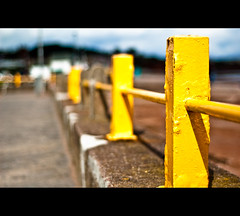 ] Yeller [ (Komatoes) Tags: uk sea sun beach yellow metal wall 50mm nikon paint shadows bokeh explore devon railing posts railings paignton 218 d40
