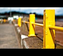 ] Yeller [ (©Komatoes) Tags: uk sea sun beach yellow metal wall 50mm nikon paint shadows bokeh explore devon railing posts railings paignton 218 d40