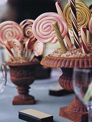 Candy Shop: Lollipop Centerpiece (camillestyles) Tags: willywonka parties lollipops tabletop whimsical kidsbirthdayparty centerpieces themeparty dessertbuffet stylenotes camillestyles