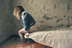 (yyellowbird) Tags: selfportrait chicago abandoned girl hospital lights bed peeling paint cari michaelreese