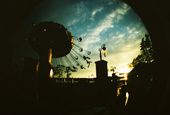 Dream Lake ({peace&love}) Tags: park sunset sky people film fun amusement flying xpro lomography colorful ride cross swings dreaming fisheye processing agfa sooc straightoutofcamera pinkparis1233