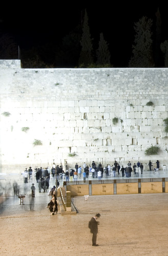 The western wall at night.