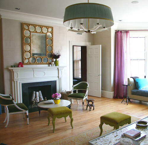 Frank Roop: Modern, colorful living room + large mirror + velvet upholstery