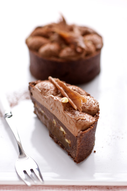 another one of the chocolate, caramel, banana and peanut tart