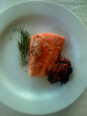 wild salmon with rhubarb compote