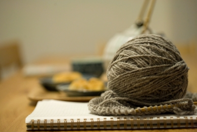some knitting on the table, too