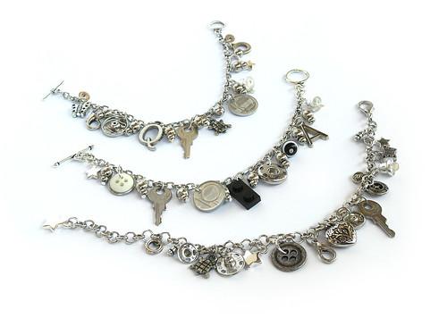 3 Junk Charm Bracelets by weggart.