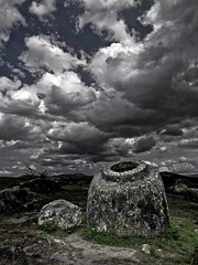 Plain of Jars - Laos (Eric Lafforgue) Tags: cloud history archaeology monument nature beauty grass rock urn stone mystery photography ancient asia southeastasia nobody unescoworldheritagesite unesco container hasselblad explore gravestone jar asie damaged laos lao thepast isolated developingcountries archeological worldheritage traditionalculture jarre  traveldestinations ruralscene beautyinnature h3d jarres nationallandmark plainofjars placeofinterest lafforgue  indigenousculture  frenchindochina laosa laotianculture placeconcerningdeath   thonghaihin  beteille xiengkhuangprovince xiangkhoang laosz  frenchprotectorate  laosas