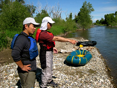 Takashi and Ryan discussing the river (Wisner Crossing, Montana, United States) Photo