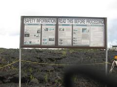 Warnings before the walk across the lava field
