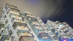 Zhuhai - above the neon lights (cnmark) Tags: china road street light house building night clouds geotagged noche moving bright nacht side chinese explore guangdong noite  residential nuit notte zhuhai nachtaufnahme gongbei   blueribbonwinner yuehua  explored allrightsreserved platinumphoto platinumheartaward lumixaward  geo:lat=22225434 geo:lon=113546308